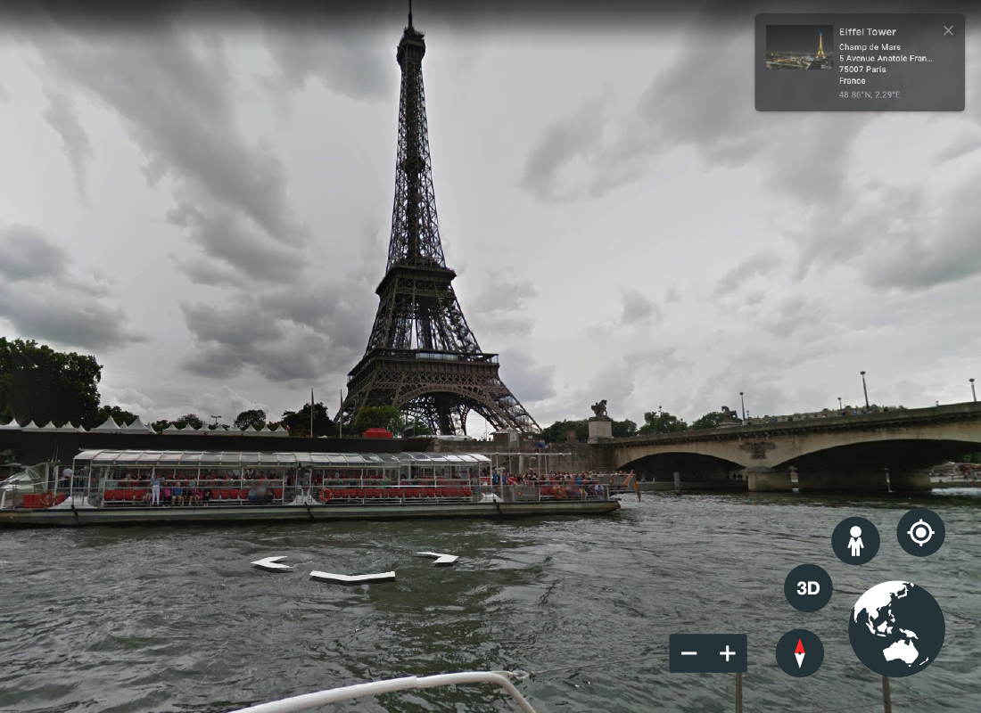 A screenshot of Google Earth showing the view of the Eiffel Tower from a boat on the river – you feel as if you are right there on the boat exploring Paris by water.