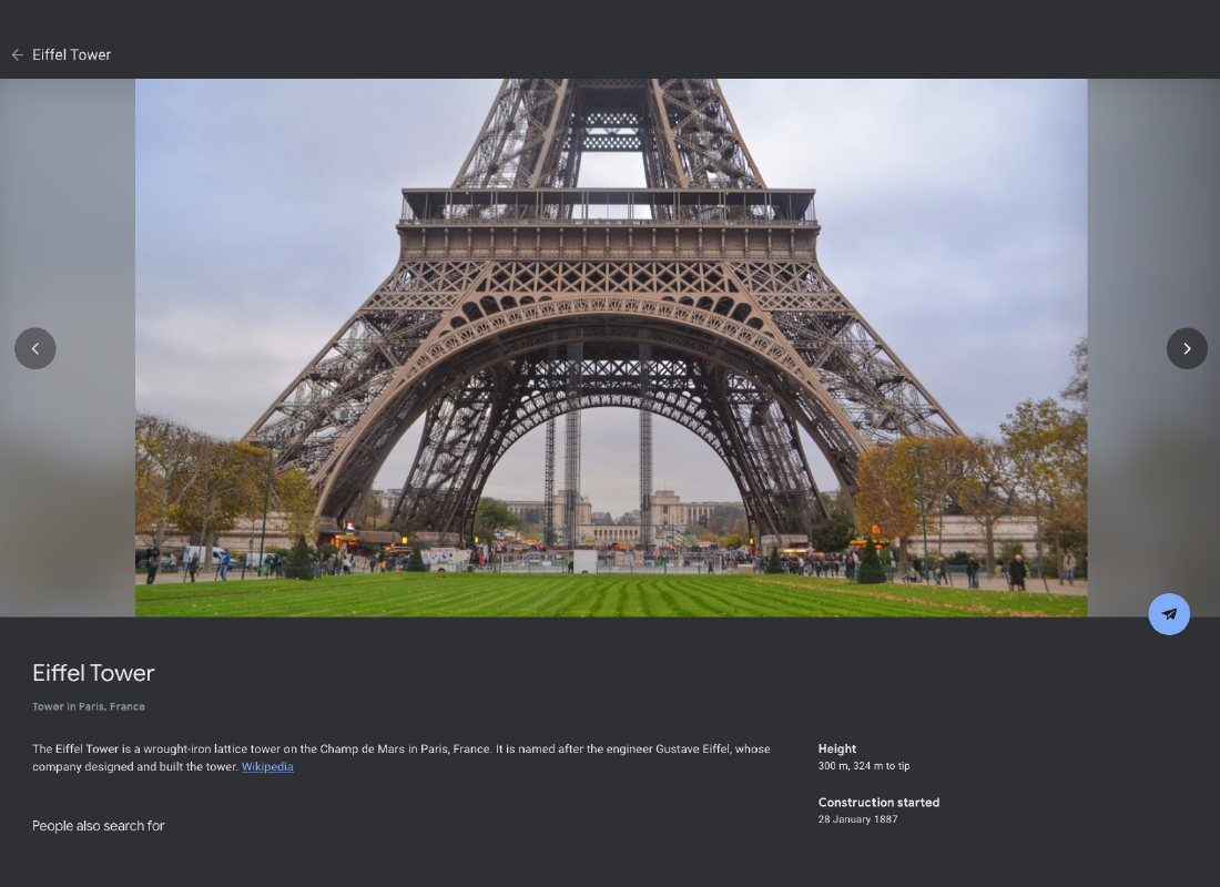 A screenshot of Google Earth offering more information on the Eiffel Tower such as its height, when construction was started as well as the architects and more.