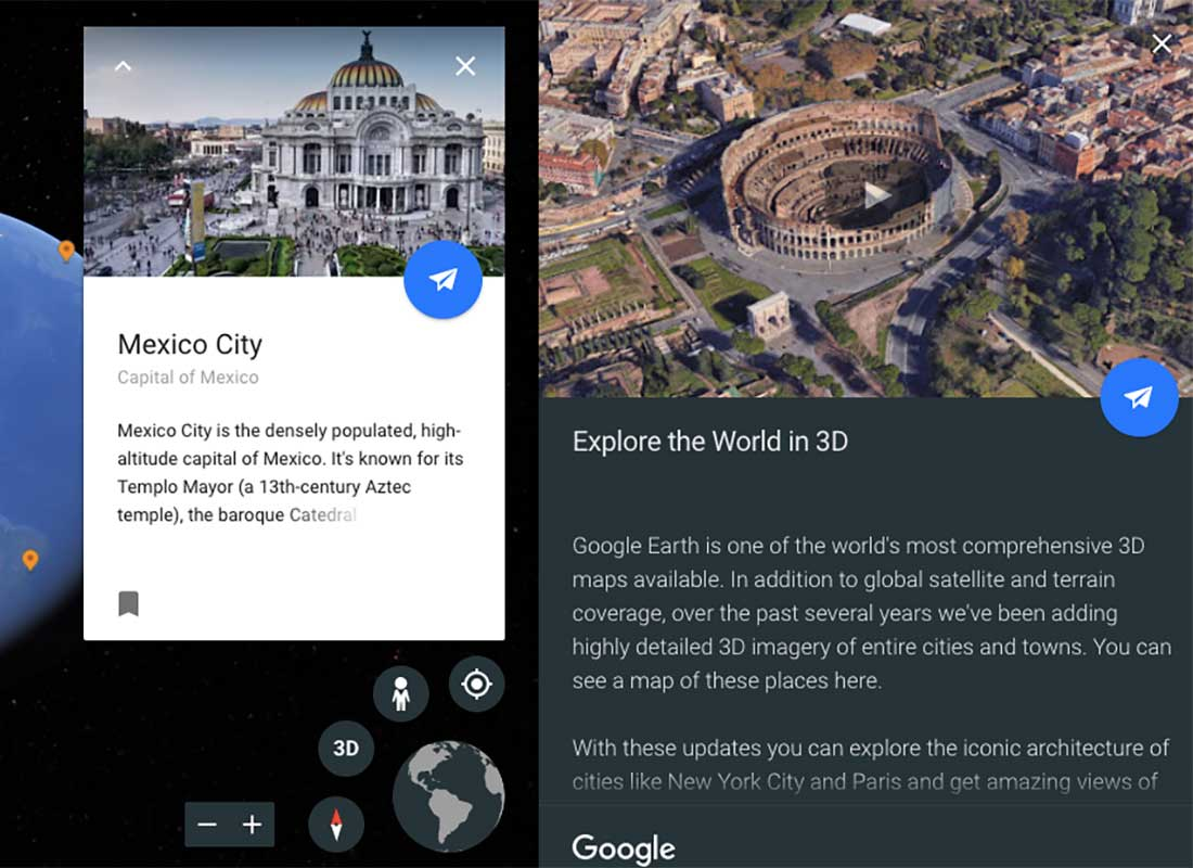 A screenshot of Google Earth Voyager where the reader is exploring Mexico City and the 3D maps Google Earth offers.