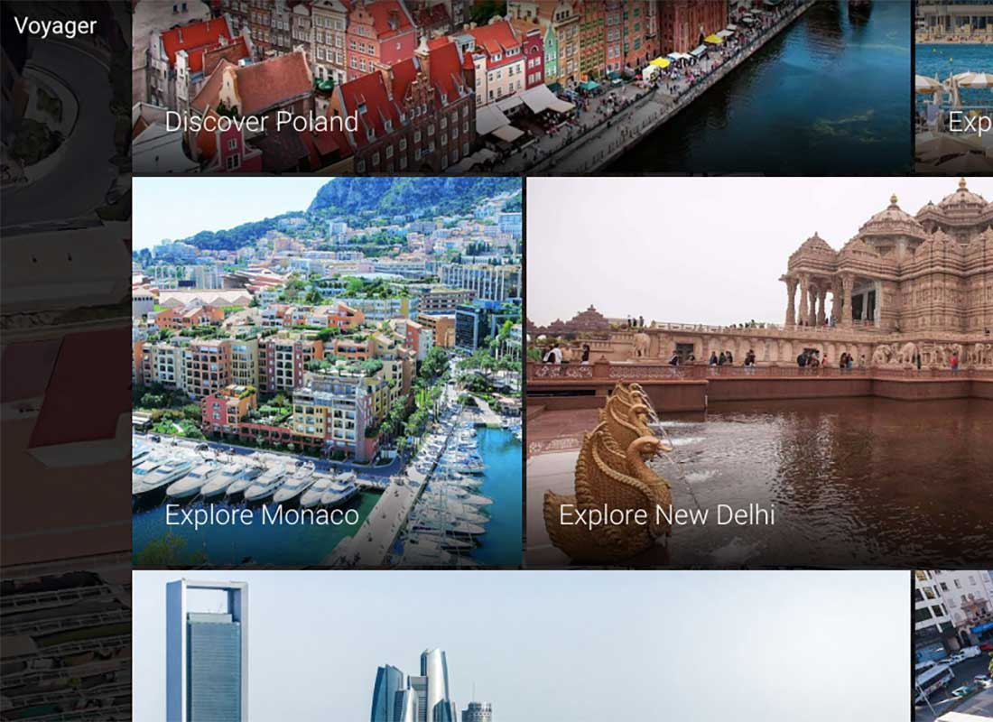 A screenshot of the Google Earth screen with exciting topics you can click on to explore, such as 'Explore Monaco' or 'Discover Poland'.
