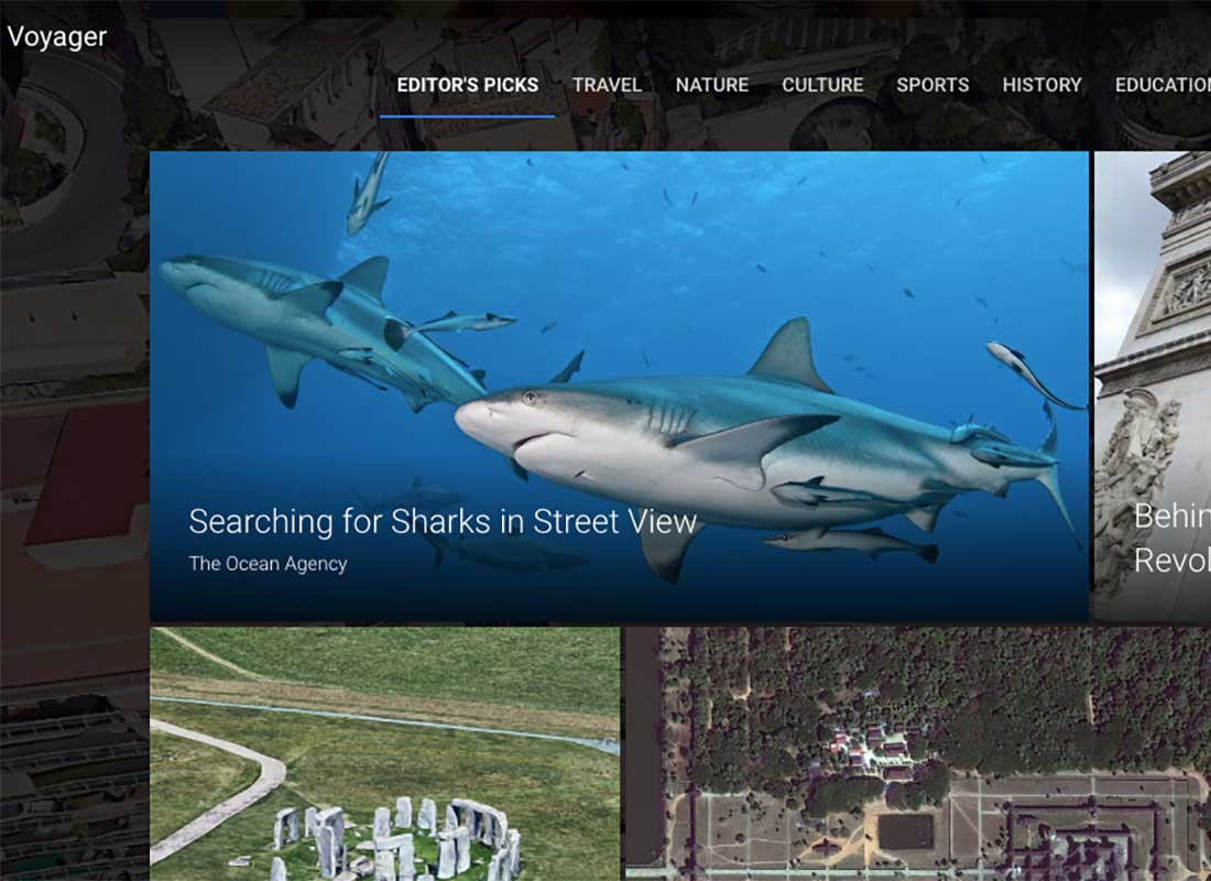 A screenshot of the Google Earth Voyager Editor's Picks section with topics available to explore such as 'Searching for sharks in Street View'.