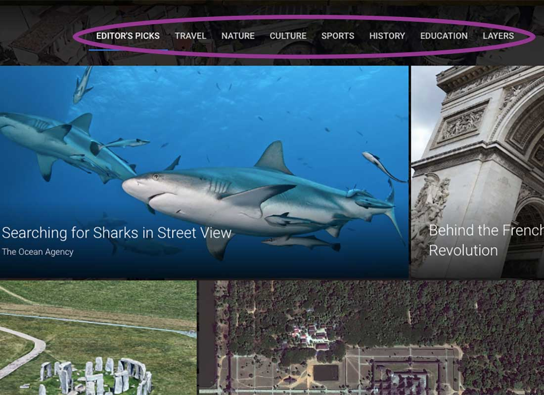 A screenshot of the Google Earth Voyager top menu items with 'Editor's Picks' on the far left and 'Layers' on the far right.