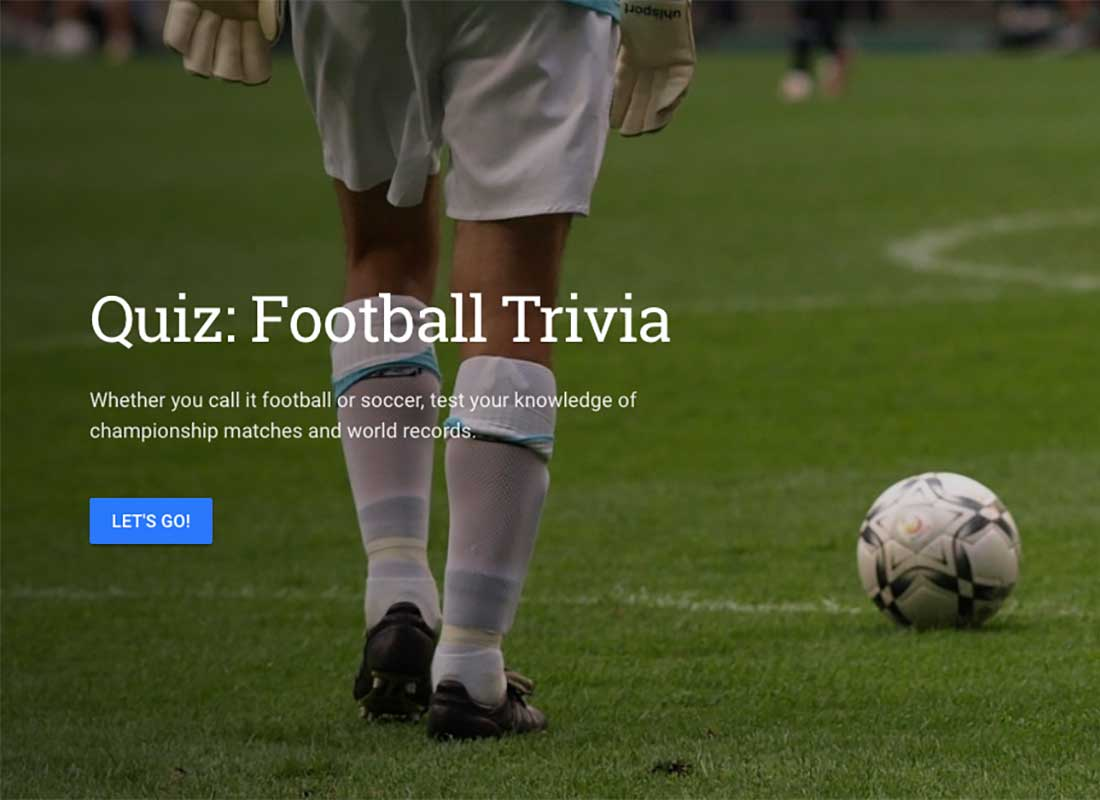 A screenshot of one of Google Earth Voyager's quizzes, this example is a Football trivia quiz.