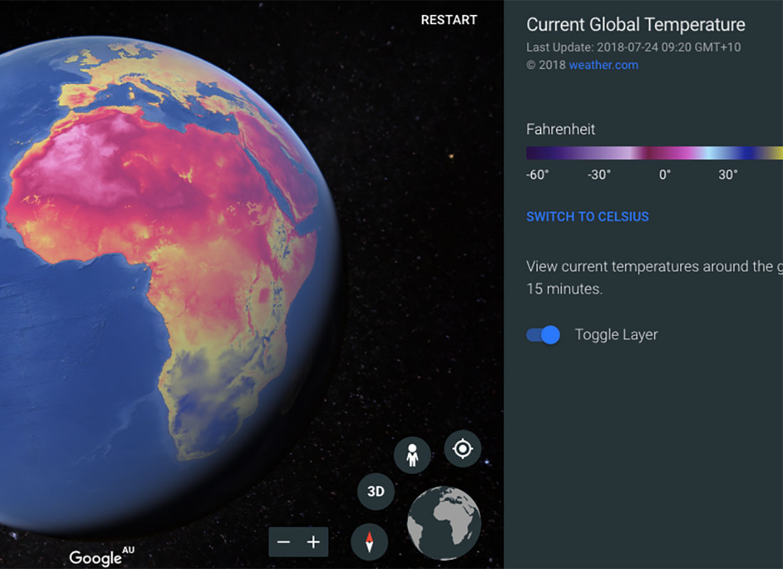 A screenshot of one of the weather screens Google Earth Voyager offers, this example shows the current global temperature.