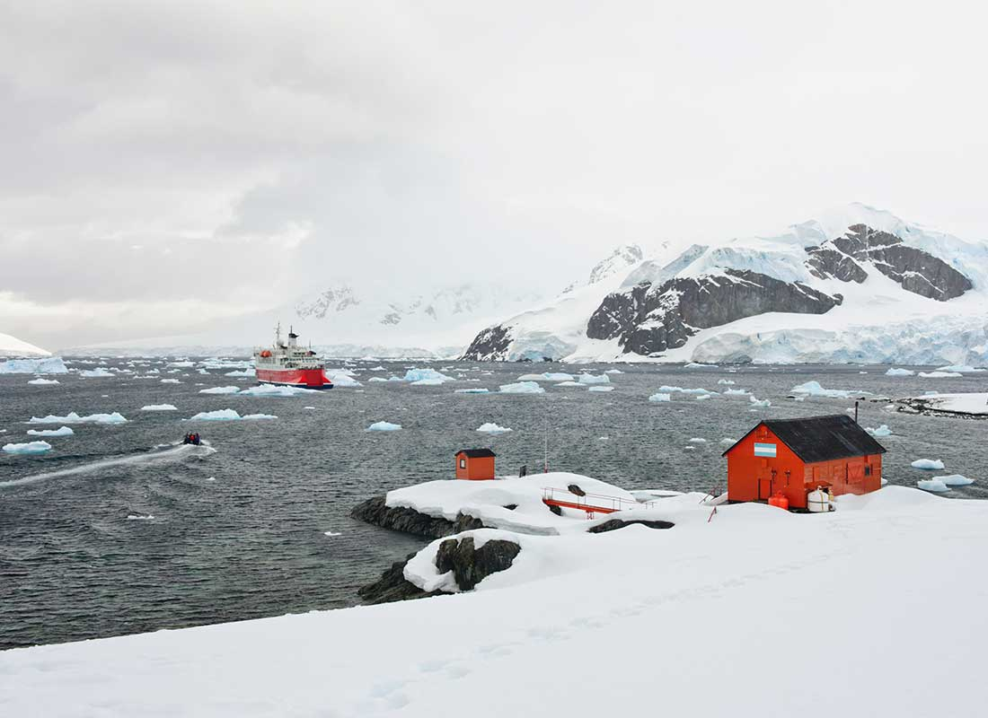 A striking photograph of the Mawson Station in Antarctica.