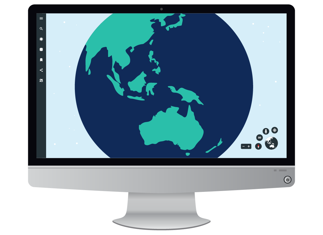 An illustration of how Google Earth looks on larger screens such as laptops and desktop PCs.
